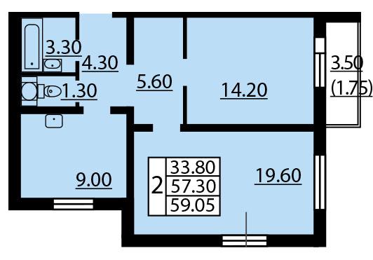 Планировка Двухкомнатная квартира площадью 59.2 кв.м в ЖК «Квартет»