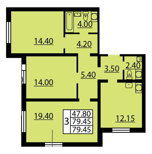 Планировка Трёхкомнатная квартира площадью 79.45 кв.м в ЖК «Квартет»