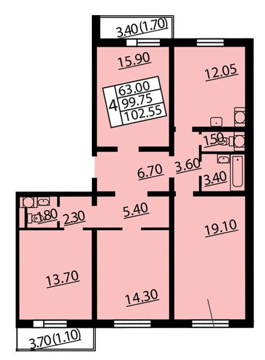 Планировка Четырёхкомнатная квартира площадью 102.55 кв.м в ЖК «Квартет»