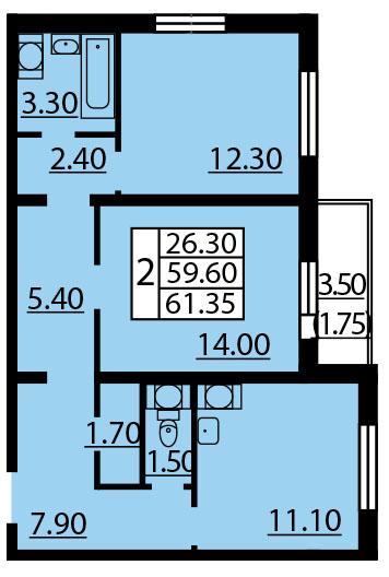 Планировка Двухкомнатная квартира площадью 61.35 кв.м в ЖК «Квартет»