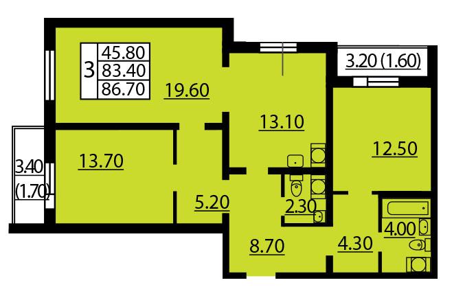 Планировка Трёхкомнатная квартира площадью 86.7 кв.м в ЖК «Квартет»