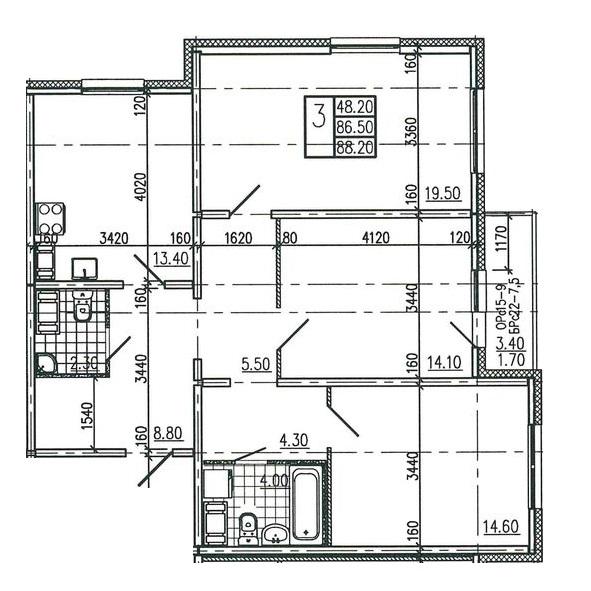 Планировка Трёхкомнатная квартира площадью 88.2 кв.м в ЖК «Квартет»