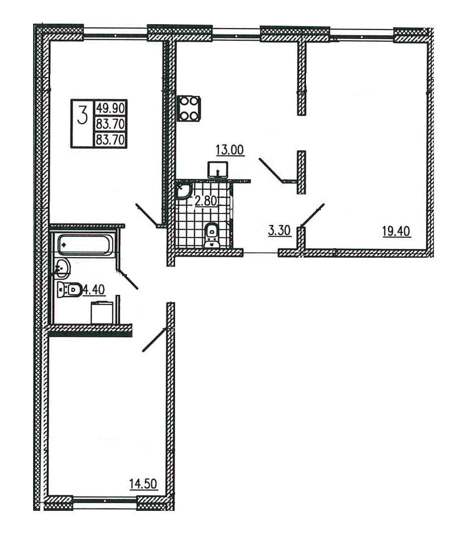 Планировка Трёхкомнатная квартира площадью 83.7 кв.м в ЖК «Квартет»