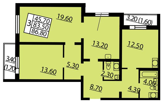 Планировка Трёхкомнатная квартира площадью 86.8 кв.м в ЖК «Квартет»