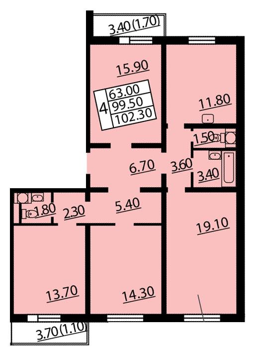 Планировка Четырёхкомнатная квартира площадью 102.3 кв.м в ЖК «Квартет»